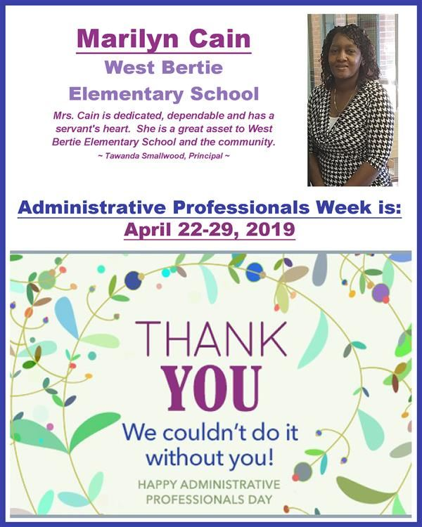 Thank you, ms. cain for admin professionals week
