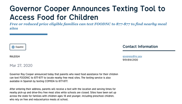 screenshot about Gov. Cooper's texting service for meals