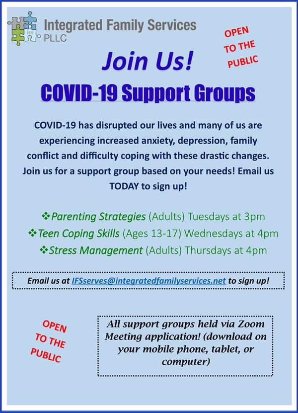 flyer about IFS offering COVID support groups