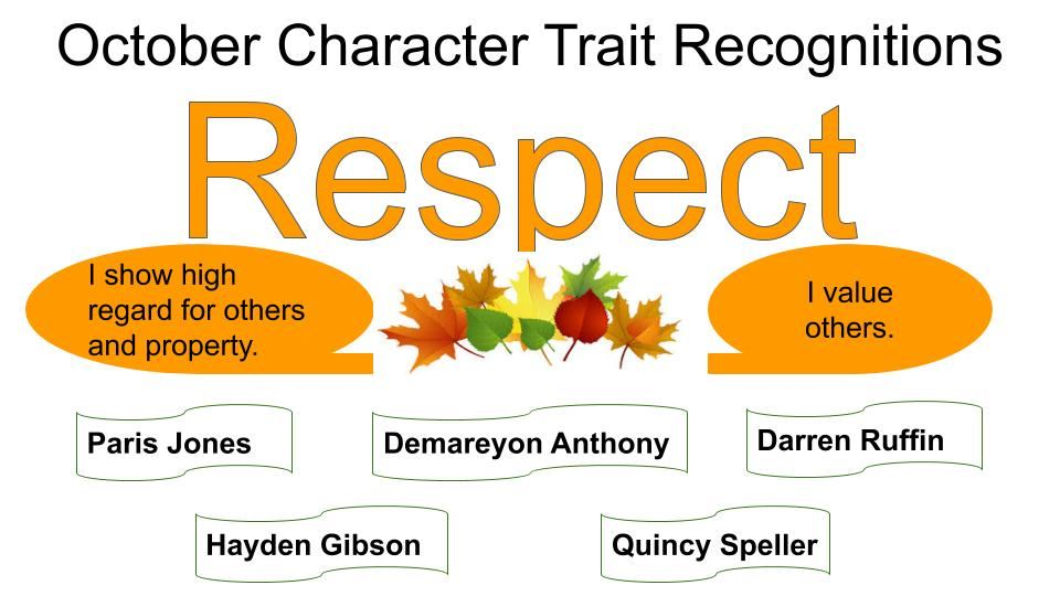 October Character Trait Recognitions