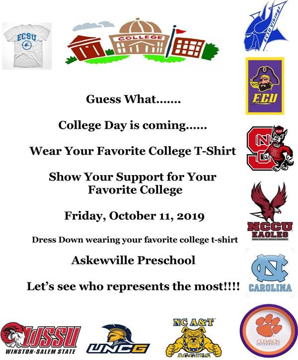 Flyer re: prek college T-shirt day on Oct. 11