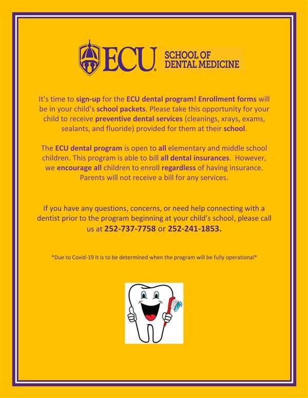ECU Dental Program Enrollment Flyer