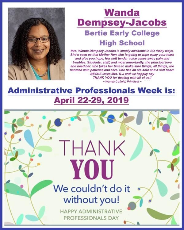 Thank you to Mrs. D-J for Admin Professionals Week