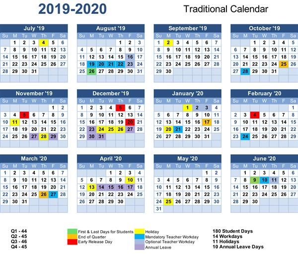 traditional calendar for 2019-2020