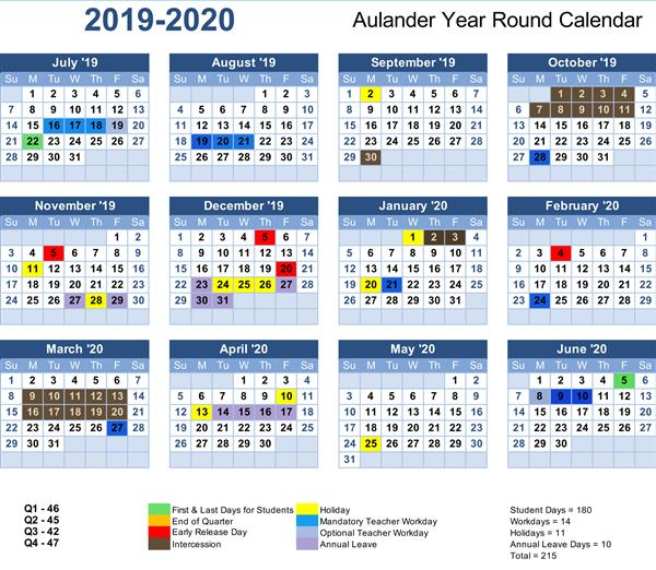 Aulander elementary school year round calendar for 2019-2020
