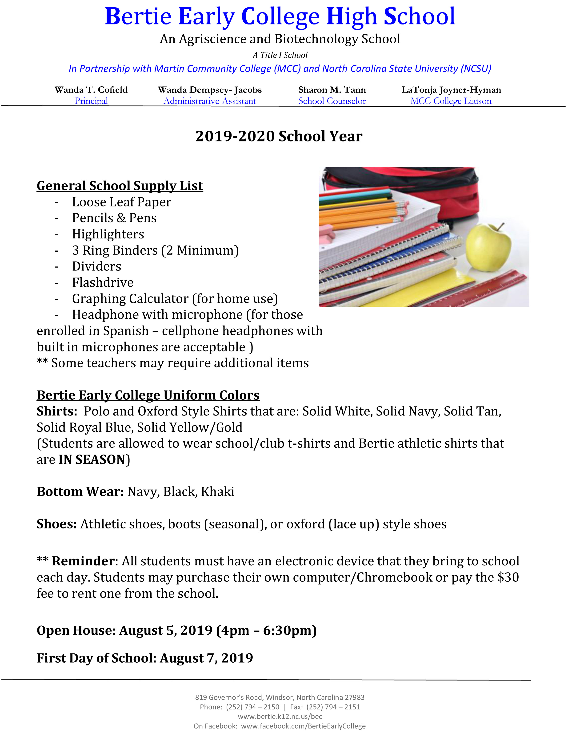 Click HERE for School Supply Lists!