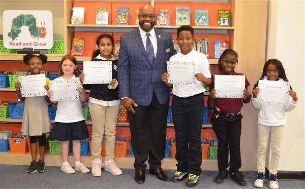 September Super Star students with Dr. Smallwood