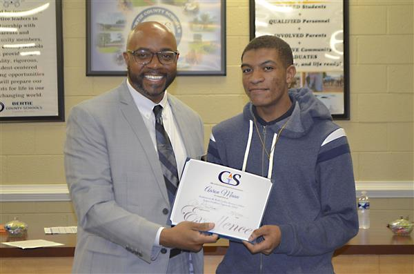 Dr. Smallwood recognizing Aaron Mann at School Board Meeting on March 10