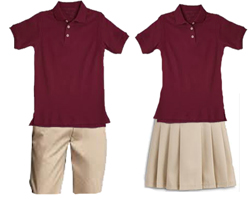 male and female school uniforms with khaki pants and burgundy shirts