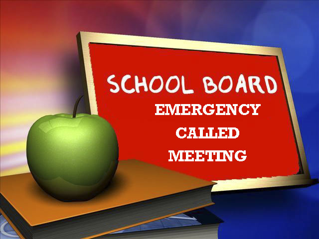 emergency called school board meeting with red chalkboard and books and apple