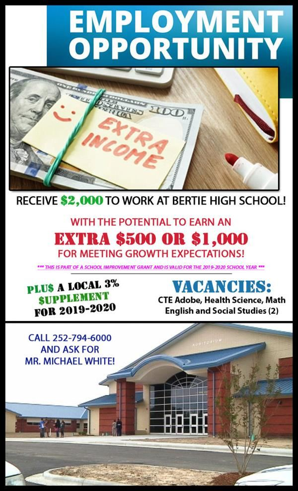 Bertie High School Employment ad