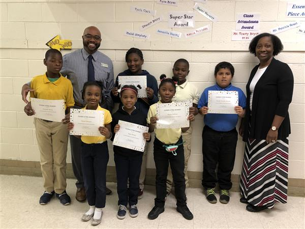 September super star students with Dr. Smallwood and West Bertie Principal