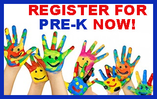REGISTER FOR PRE-K NOW! Children's hands, pained with colorful smiley faces