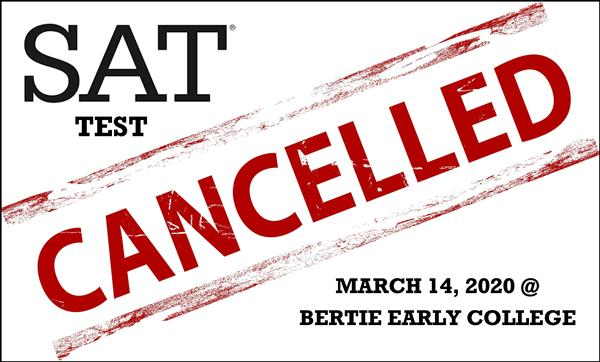 SAT Test Cancelled for March 14 at BECHS (word art)