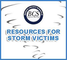 RESOURCES FOR STORM VICTIMS (tornado sketch artwork with BCS logo)