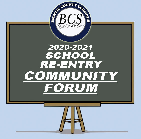 Community Forum Chalkboard Graphic with BCS logo