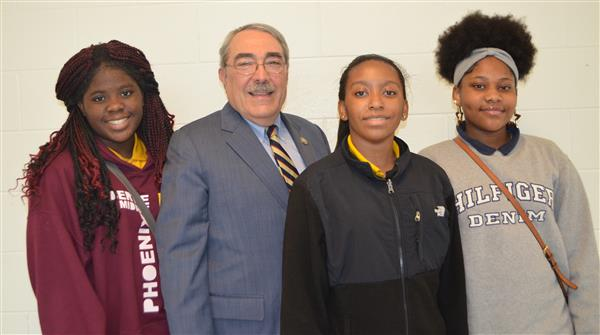 Congressman G.K. Butterfield poses with students from SGA in Bertie County Schools