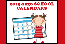 2019-2020 school calendar art kid in front of calendar