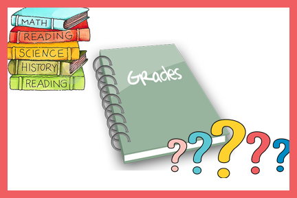 text books, grade book and question marks