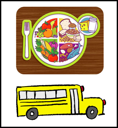 tray of food and school bus