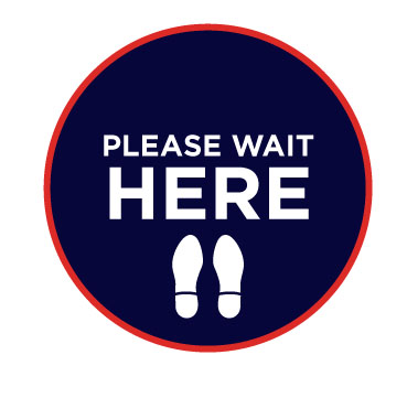 Please wait here with footprints for social distancing in schools