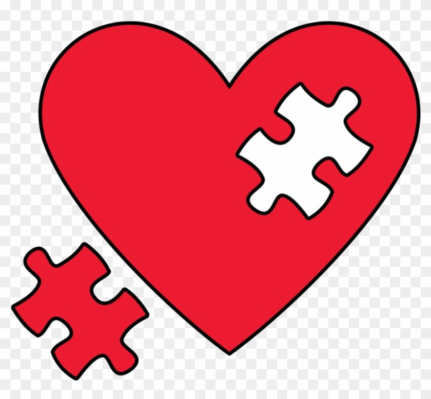 Red heart with one missing red puzzle piece beside the heart