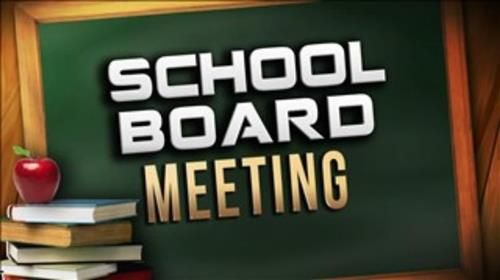 chalkboard and book clip art announcing School Board Meeting