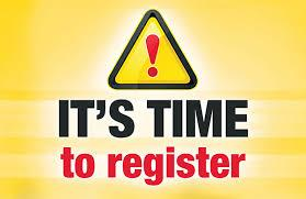 It's time to register alert colorful clipart